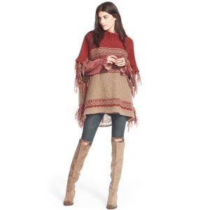 Free People Labyrinth Stripe Knit Sweater Poncho